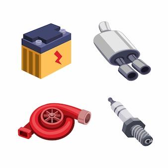 Conjunto de ícones de coleção de peças de componentes automotivos, peça sobressalente de atualização de desempenho de modificação no vetor de ilustração dos desenhos animados