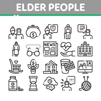 Conjunto de ícones de coleção de pensionista de pessoas mais velhas