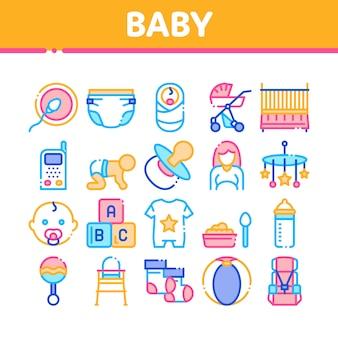 Conjunto de ícones de coleção de roupas e ferramentas de bebê