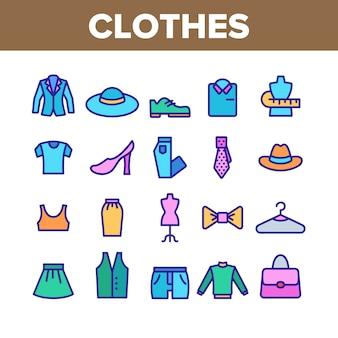 Conjunto de ícones de coleção de roupas e moda