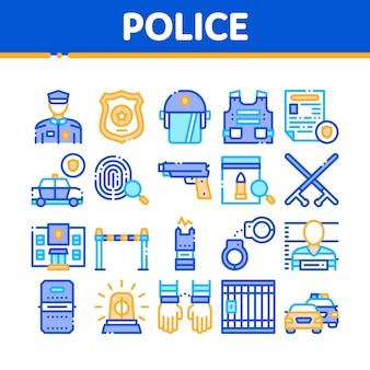 Conjunto de ícones de coleção do departamento de polícia