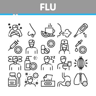 Conjunto de ícones de coleção médica de sintomas de gripe