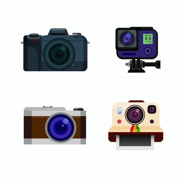 Conjunto de ícones de coleção mirrorless da câmera de ação dslr