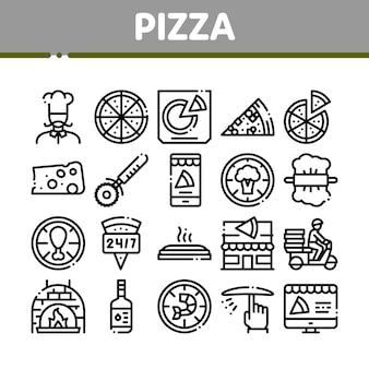 Conjunto de ícones de coleta de comida deliciosa pizza