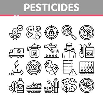 Conjunto de ícones de coleta de pesticidas químicos