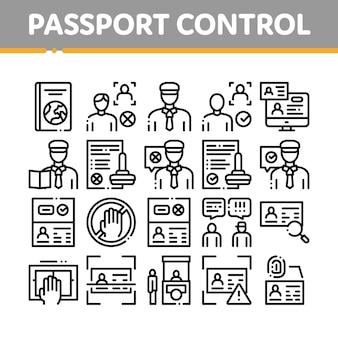 Conjunto de ícones de coleta de seleção de controle de passaporte