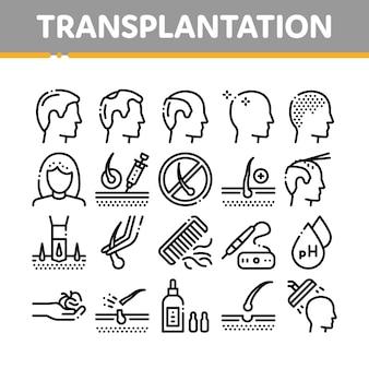 Conjunto de ícones de coleta de transplante de cabelo