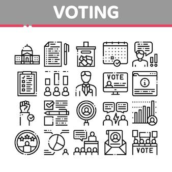 Conjunto de ícones de coleta de votação e eleição