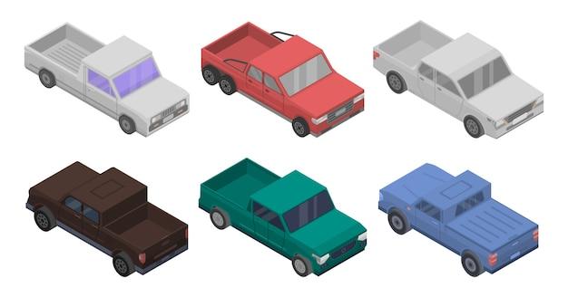 Conjunto de ícones de coleta, estilo isométrico