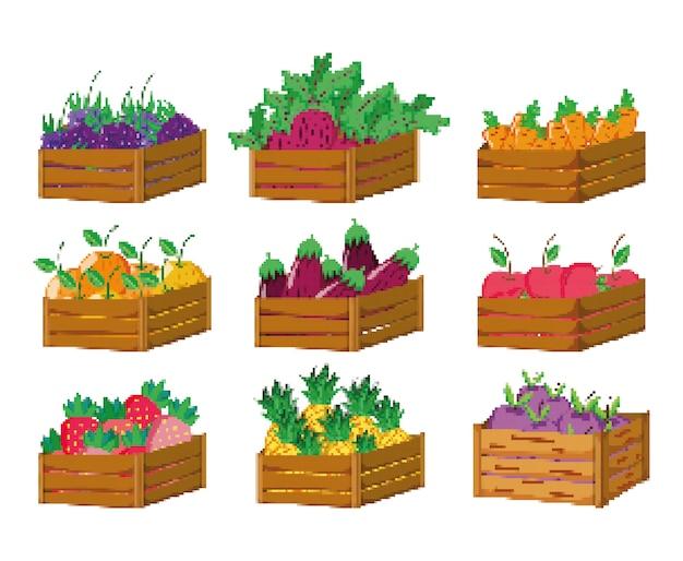 Conjunto de ícones de colheita pixelizada