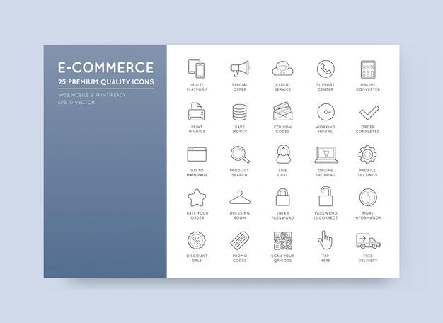 Conjunto de ícones de comércio eletrônico do vetor compras e on-line