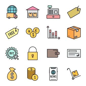 Conjunto de ícones de comércio eletrônico isolado no branco