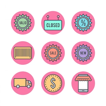 Conjunto de ícones de comércio eletrônico no vetor fundo branco elementos isolados
