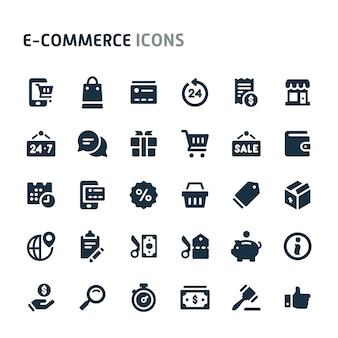 Conjunto de ícones de comércio eletrônico. série de ícone preto fillio.