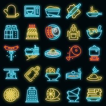Conjunto de ícones de comida caseira. conjunto de contorno de ícones de vetor de comida caseira cor de néon no preto