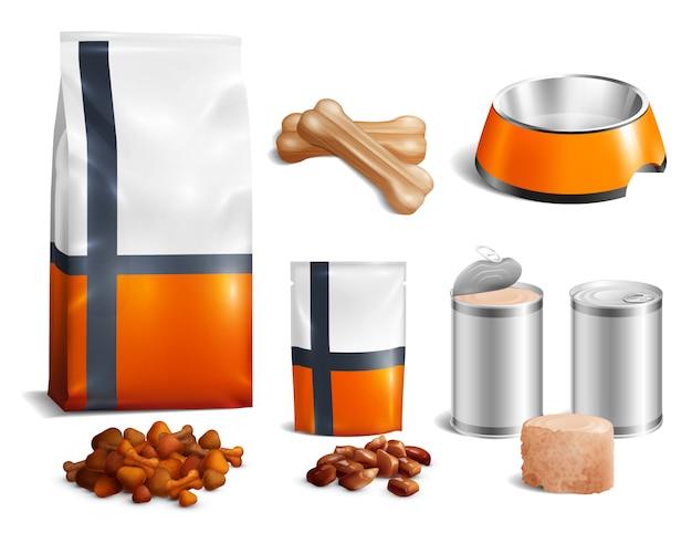 Conjunto de ícones de comida de cachorro