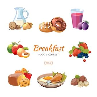 Conjunto de ícones de comida de pequeno-almoço dos desenhos animados. biscoitos e donuts, nozes e frutas, ilustração vetorial