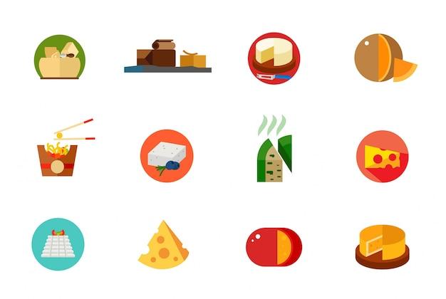 Conjunto de ícones de comida de queijo
