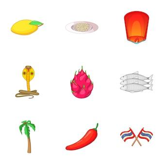 Conjunto de ícones de comida de tailândia, estilo cartoon