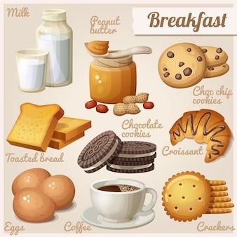 Conjunto de ícones de comida de vetor de desenhos animados para o café da manhã