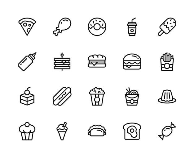 Conjunto de ícones de comida e bebida. estilo de linha