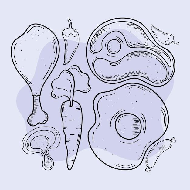 Conjunto de ícones de comida e comida