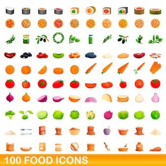 Conjunto de ícones de comida, estilo cartoon