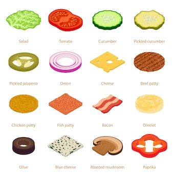 Conjunto de ícones de comida fatia. ilustração isométrica de 16 ícones de vetor de comida fatia para web