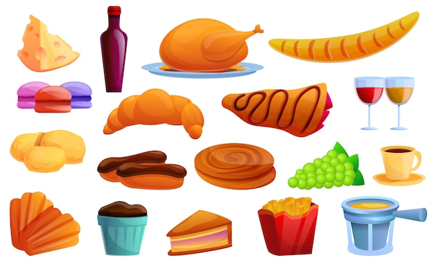 Conjunto de ícones de comida francesa, estilo cartoon
