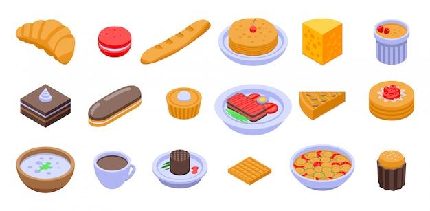 Conjunto de ícones de comida francesa, estilo isométrico