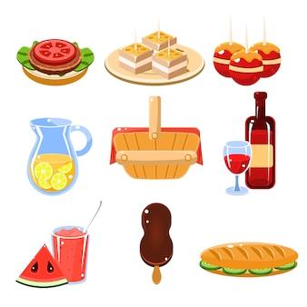 Conjunto de ícones de comida francesa