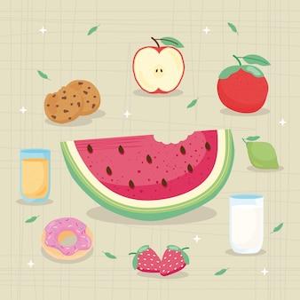 Conjunto de ícones de comida fresca e deliciosa ao redor da ilustração de melancia