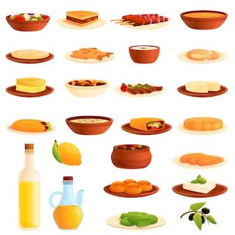 Conjunto de ícones de comida grécia, estilo cartoon
