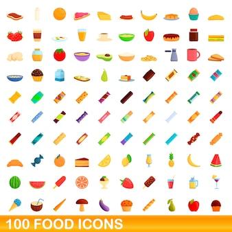 Conjunto de ícones de comida. ilustração dos desenhos animados de ícones de comida em fundo branco