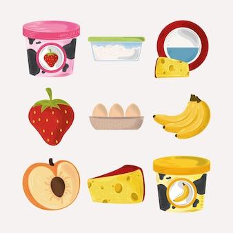 Conjunto de ícones de comida, iogurte frutas, ovos e queijo fresco nutrição