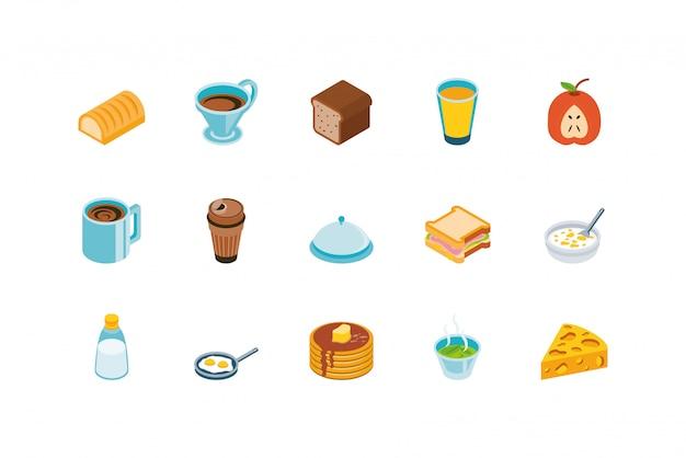 Conjunto de ícones de comida isolada