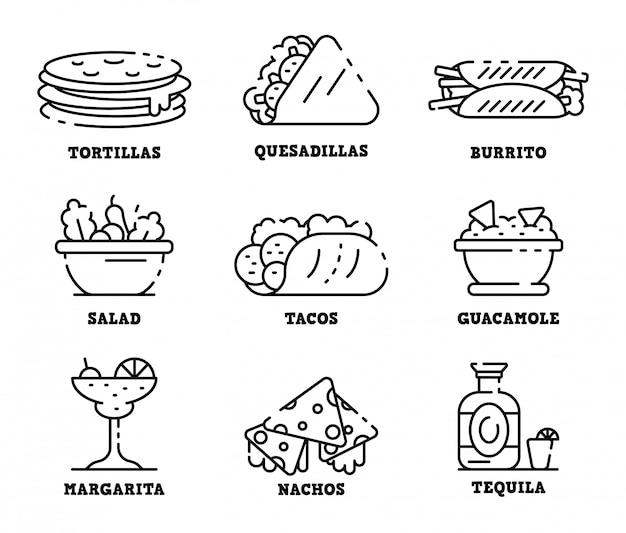Conjunto de ícones de comida mexicana, estilo de estrutura de tópicos