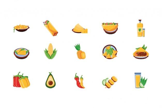 Conjunto de ícones de comida mexicana