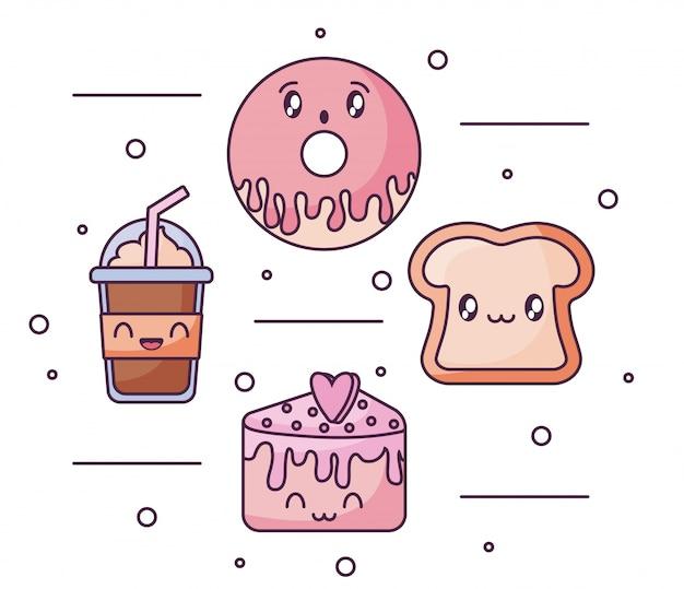 Conjunto de ícones de comida no estilo kawaii