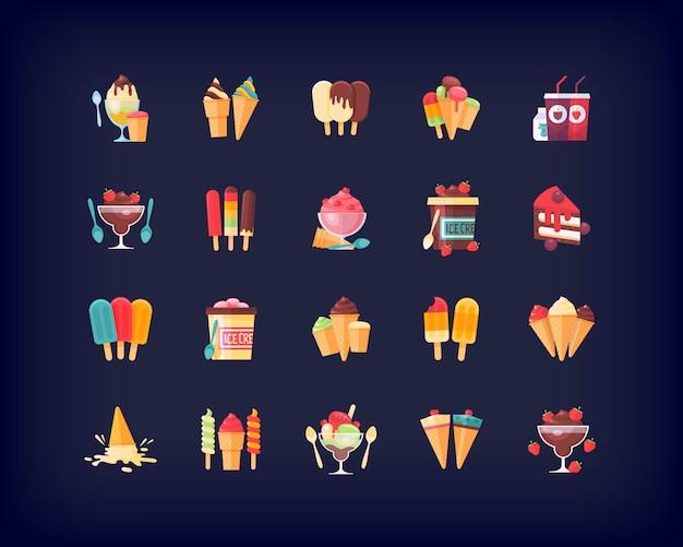 Conjunto de ícones de comida, sobremesas, sorvetes e pratos doces.