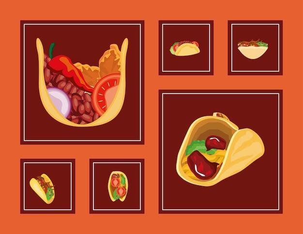 Conjunto de ícones de comida tacos