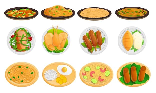 Conjunto de ícones de comida tailandesa, estilo cartoon
