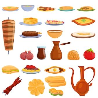 Conjunto de ícones de comida turca. conjunto de desenhos animados de ícones de comida turca para a web