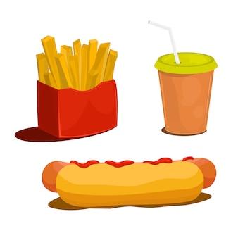 Conjunto de ícones de comida vetor dos desenhos animados isolado