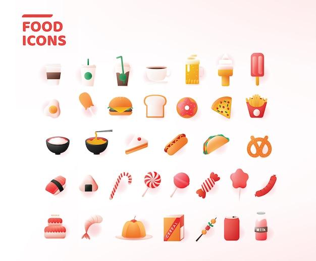 Conjunto de ícones de comida