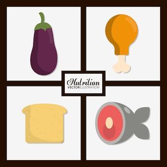 Conjunto de ícones de comida.