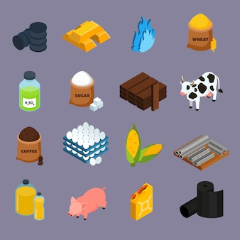 Conjunto de ícones de commodities