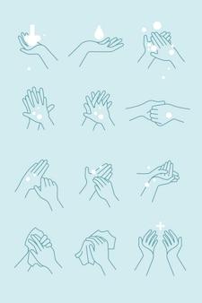 Conjunto de ícones de como lavar as mãos
