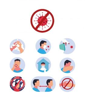 Conjunto de ícones de como o coronavírus é transmitido