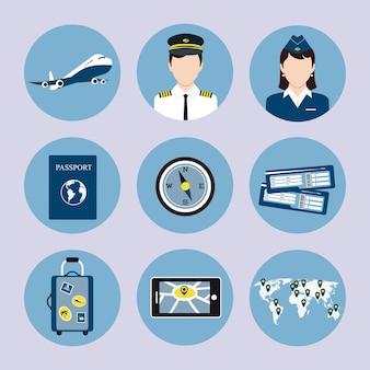 Conjunto de ícones de companhia aérea